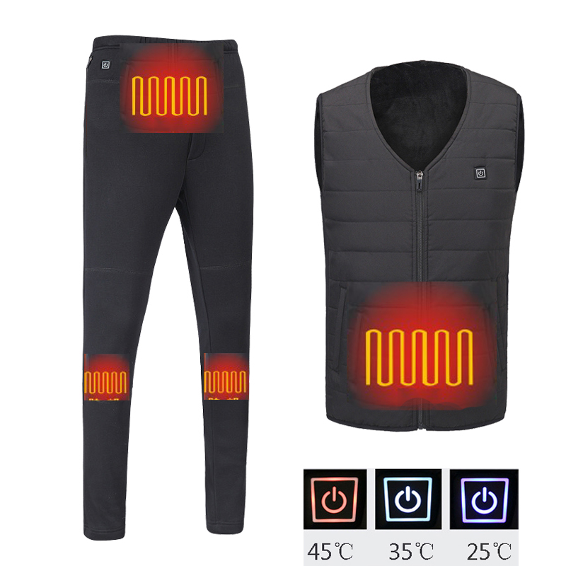 Winter Men USB Heater Vest Down Pants Heated Jacket Electric Heating Clothes Men Thermal Outdoor Fever Vest For Hiking Climbing
