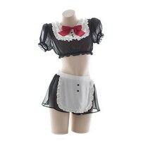 Womens Cute Anime Maid Costume Lingerie Lolita Japanese Schoolgirl Uniform Mesh Babydoll