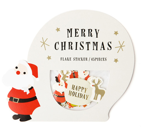 45pc/Pack Christmas Decoration Sticker Pack Santa Claus Snowman Modeling Diary Decoration Paper Christmas Stickers
