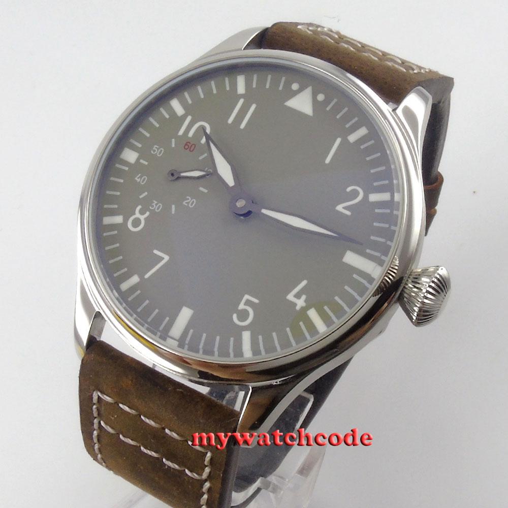 44mm Parnis สีเทา dial Big Crown 6497 การเคลื่อนไหว Hand Winding Mens นาฬิกาข้อมือ P458-ใน นาฬิกาข้อมือกลไก จาก นาฬิกาข้อมือ บน title=