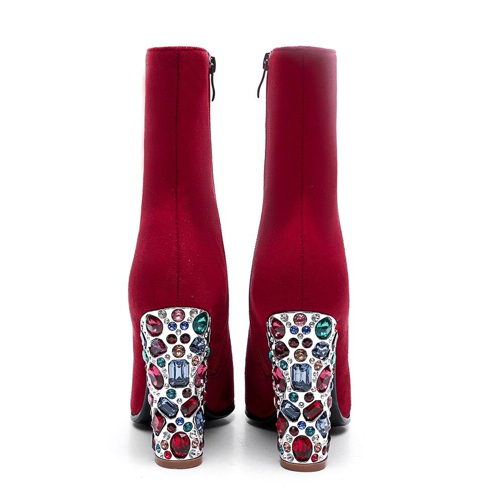 12 Nouvelle Taille Grande Sarairis Chaussures Décontracté Femme 33 Haut Offre Zip Pointu Mi 43 Bout Automne Rouge Bottes Cm 2019 À Mode De Spéciale Veau Talon t5qt0