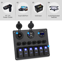 6 Gang Waterproof LED Rocker Switch Panel for Car Auto Boat SUV RV Circuit Breakers Voltmeter Car Switches Car Dual USB charger