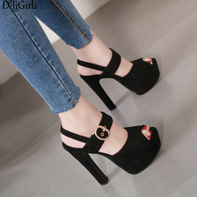Ladies Shoes And Sandals Black Suede High Heels Summer Ankle Buckle Sexy Women Heels 15cm Platform Sandals Zapatillas De Mujer asumer black apricot rose red fashion summer ladies shoes buckle thick platform prom shoes women high heels sandals