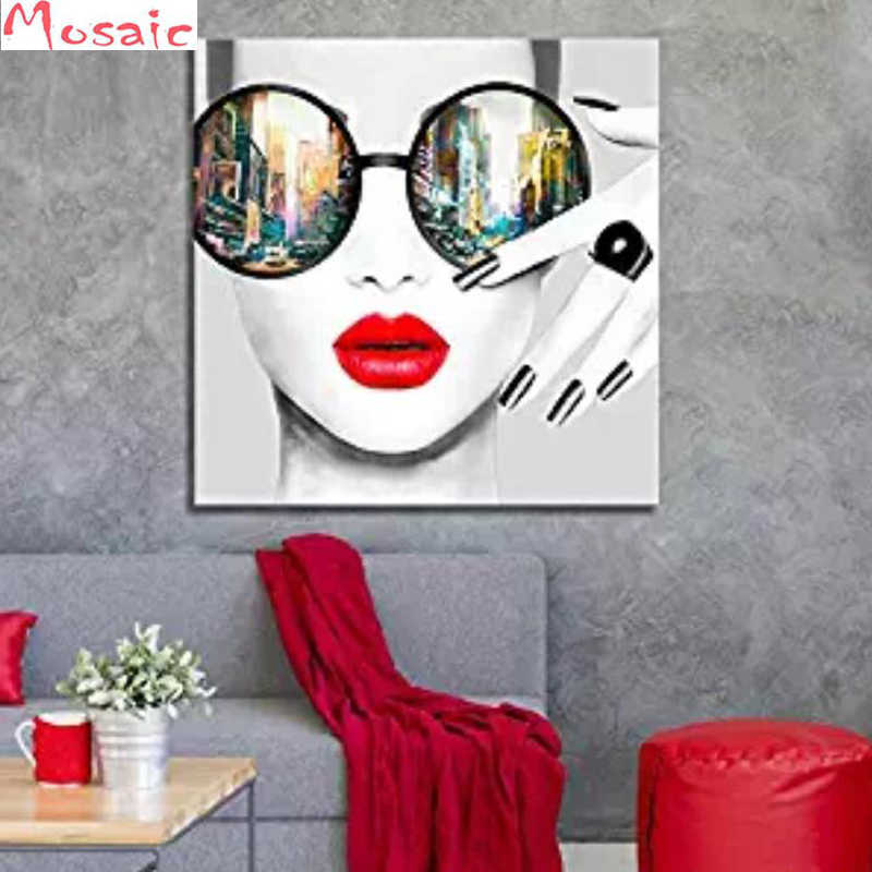 "Volle 5D Diy Diamant Malerei ""Mode Frauen mit Red Lip"" 3D Diamant mosaik Runde Strass Diamant kreuz stich stickerei"