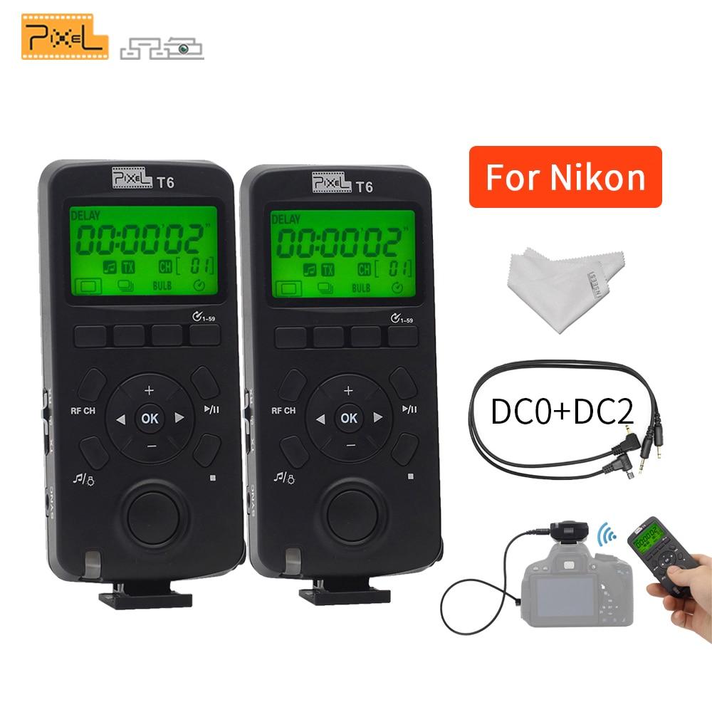 Pour D3100 D7200 D610 D750 DSLR Caméra Pixel T6 LCD Sans Fil Flash Émetteur-Récepteur Minuterie télécommande déclencheur Câble DC0 DC2
