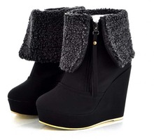 ENMAYER Fashion Platform Wedges High Heels Shoes Sexy Designer Warm Winter Fur Snow Boots for Women Size 34-39