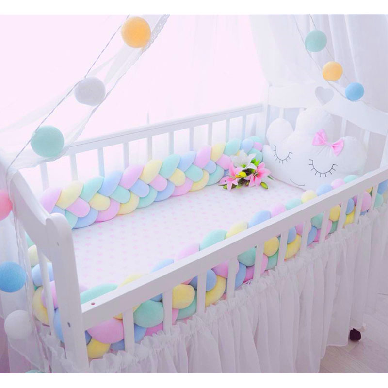 2M3M 4 Knot Soft Baby Bed Bumper Crib Sides 4 Braid 2 Meter Newborn Crib Pad Protection Cot Bumpers Bedding for Infant 6 15pcs lot squqre cot bumpers with crib sheets grey star infant crib bumpers bed protecter