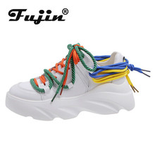 Fujin Sneakers Women Spring Autumn Muffin Bottom Dropshipping Fashion Breathable Thick Round Toe Leisure Shoes
