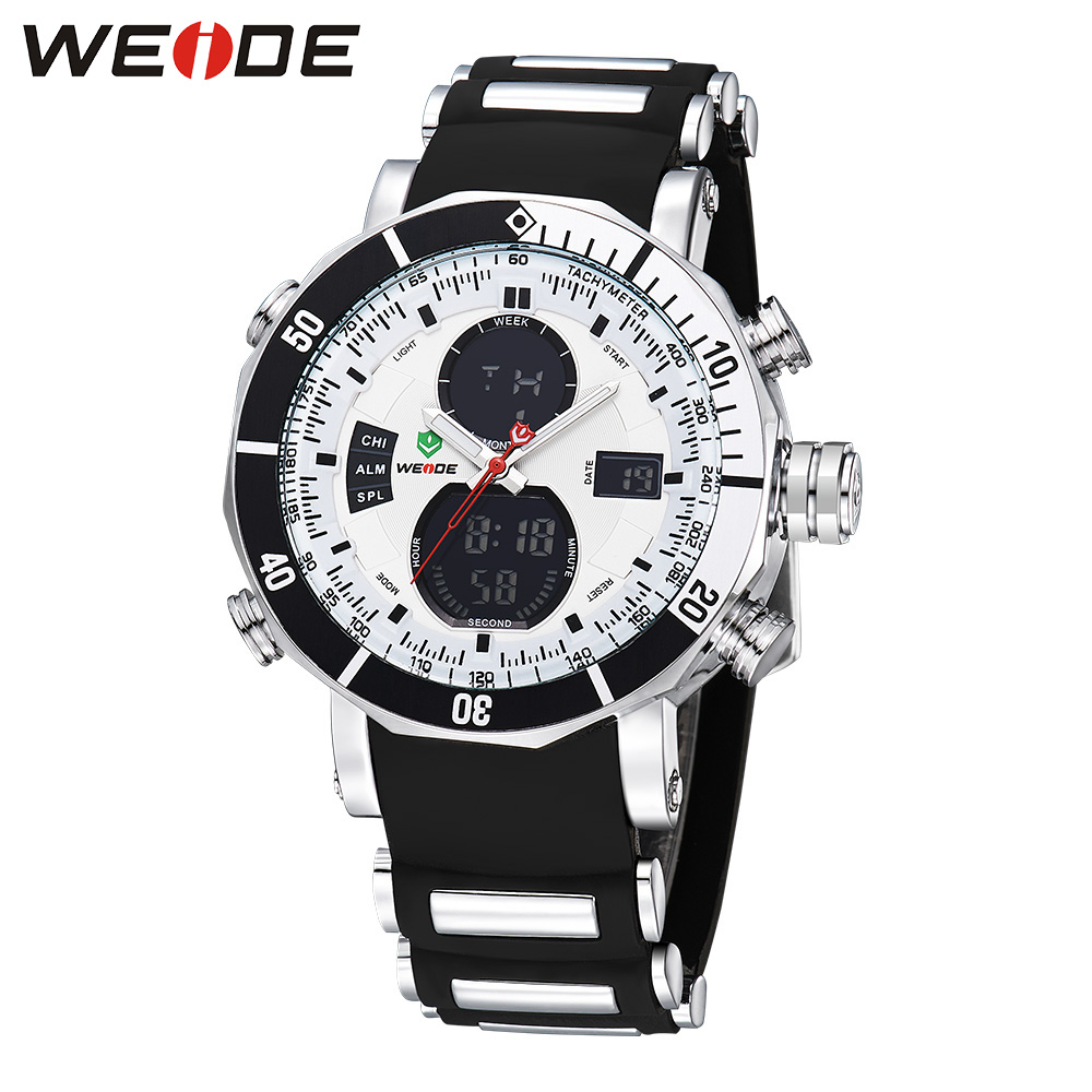 WEIDE Luxury Brand Men Sports Watch Multiple Time Zone Back Light Blue Black Fashion Casual Wristwatches Hot Clock / WH5203