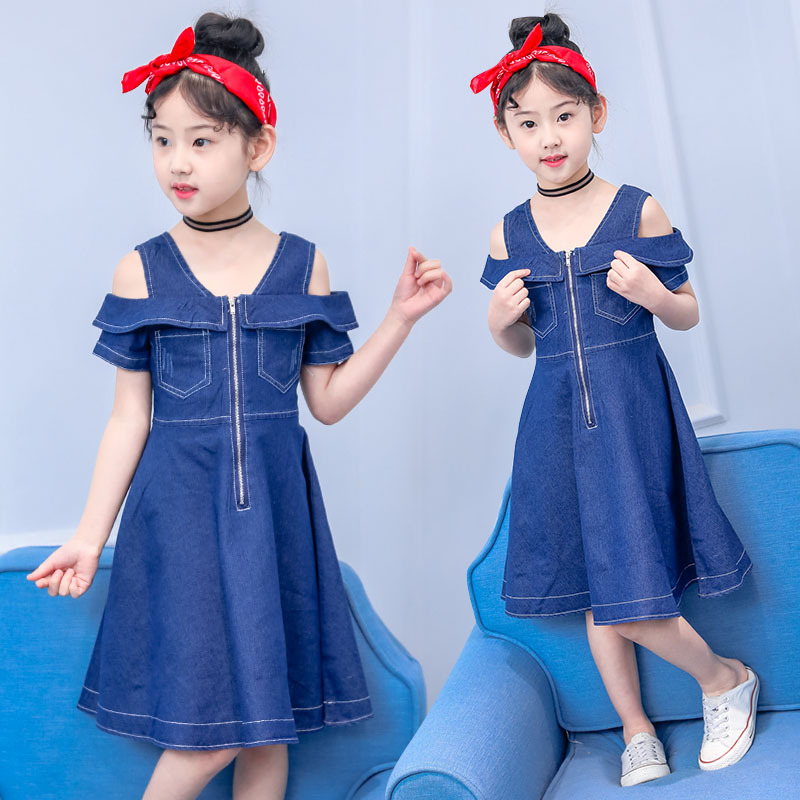 c1ca4bdba Girls Dress 2019 Summer Jeans Kids Dresses for teenagers Girls Clothes  Denim Princess Dress off Shoulder Children's clothing