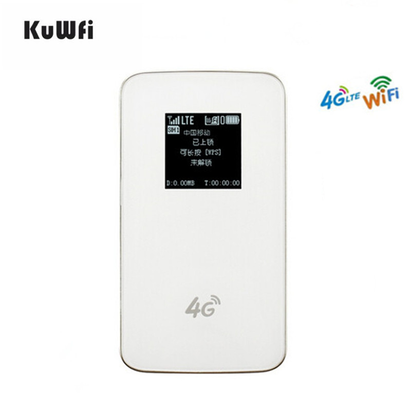 все цены на KuWfi 4G Wireless Router LTE Protable Pocket WiFi 4G WIFI Router With Sim Card Slot 4G Mobile Wifi Hotspot 4620mAh Battery
