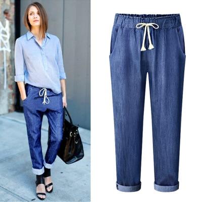 Plus Größe Frauen Jeans Harem Pants feste Elastische Taille Zeigen Dünne Vintage Capris Hosen 2018 Neue Jeans 4XL, 5XL, 6XL