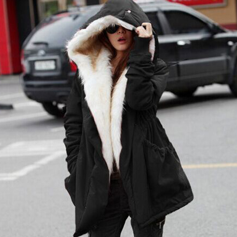 2017 New Arrival Winter Parka Jacket Woman Warm Casual Coats Long Jackets Ladies Cotton Padded Large Fur Collar Hooded Outwear