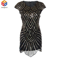 New Black Gatsby Round Neck 20 S Vintage Flapper Charleston Beading And Sequin Party Dress UK