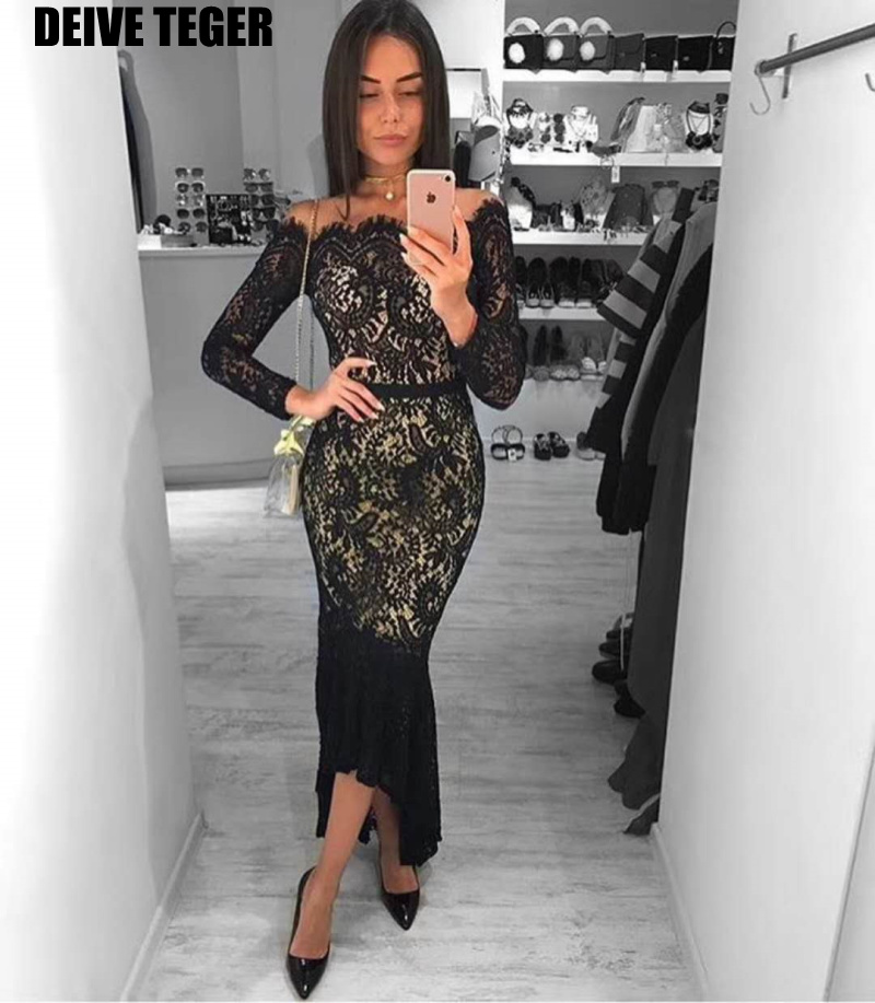 DEIVE TEGER Women mid-calf black lace flower slash neck Evening Party Club Wear Bodycon Sexy Long Sleeve Bandage Dress  HL3069