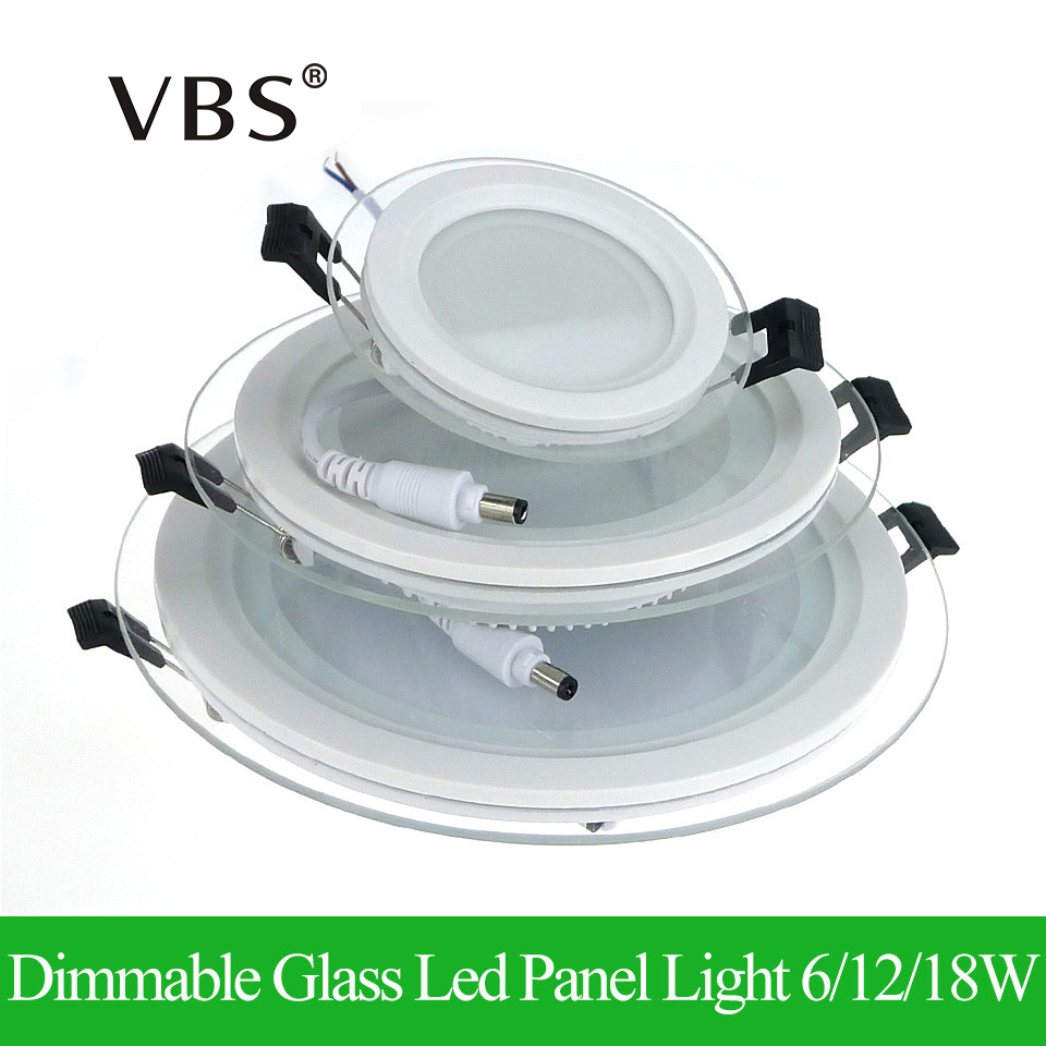 Panel de luz LED regulable Panel de vidrio redondo Downlight 6W 12W 18W Luces empotradas en el techo SMD 5630 Lámparas de panel LED AC85-265V
