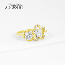 AINUOSHI 10k Solid Yellow Gold Women Ring SONA Simulated Diamond Fashion Design Customized Bridal Rings for Women Engagement
