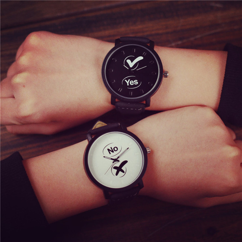Creative Watches Women Men Quartz-watch YES and NO Unique Dial Design Students Watch Leather Wristwatches Army Military hansying nostalgia newspaper and coffee creative design boy girls kids waterproof quartz watch suitable women men watch