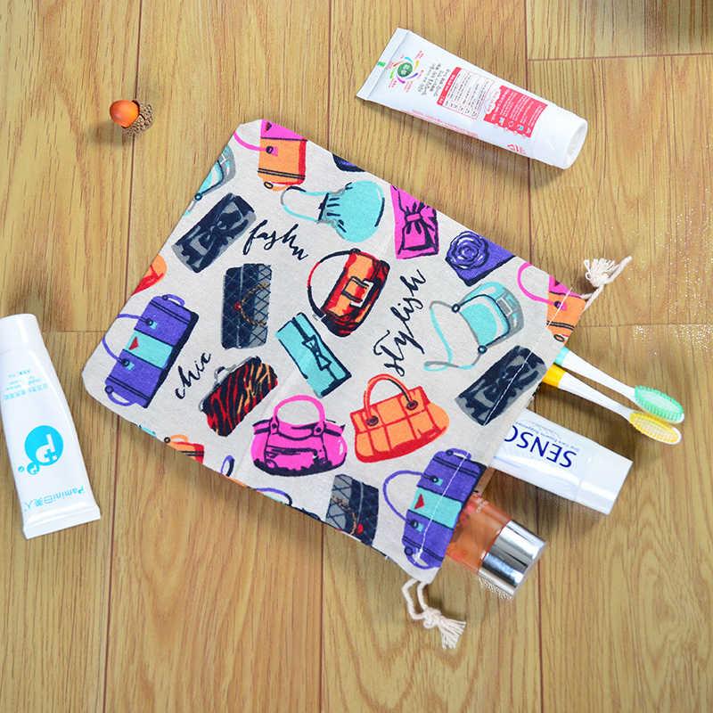 Аксессуар для путешествий сумка модная заколка хлопчатобумажная ткань, мешок со шнурком для макияжа Органайзер для туалетных принадлежностей и других предметов Чай подарочный футляр