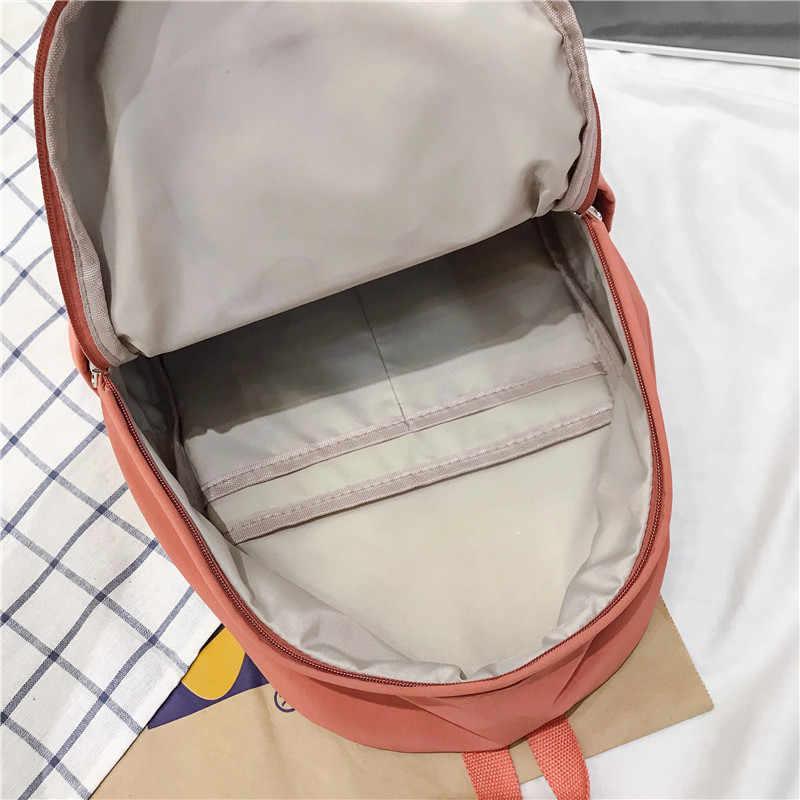 DCIMOR новый двойной карман водостойкие нейлоновый женский рюкзак сплошной цвет Школьный ранец для девочек-подростков Женская дорожная сумка книга Mochilas