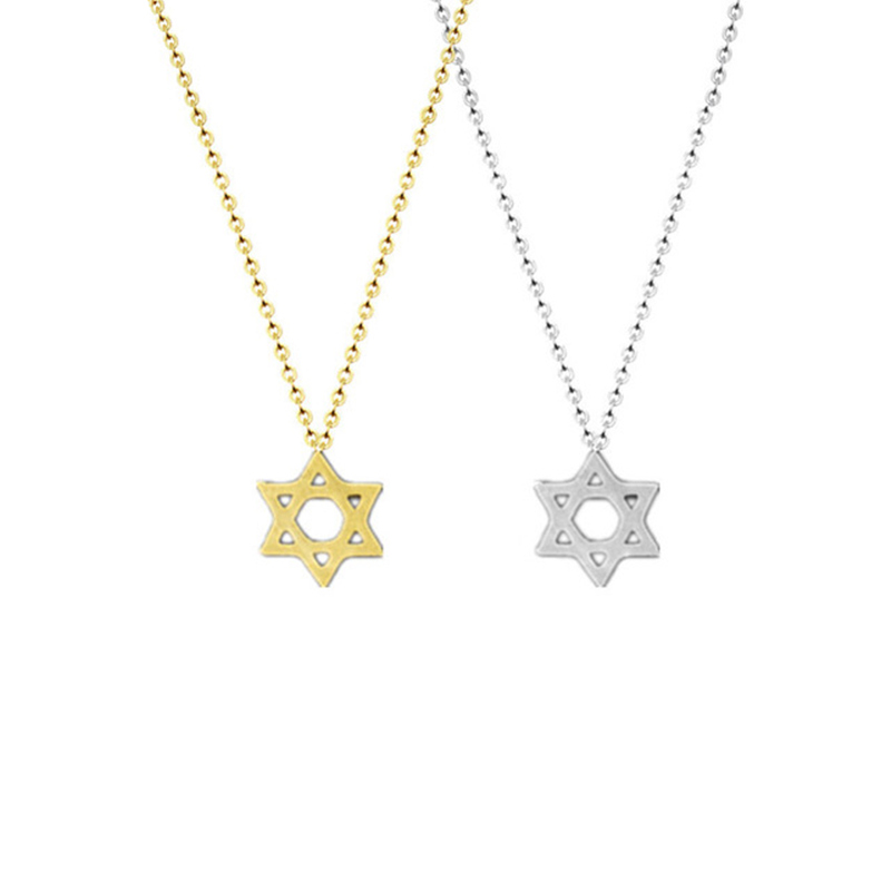 Retro Jewish Jewelry Star of David Pendant Necklace for Women Chain Stainless Steel Israel Emblem Talisman Seal of Solomon Sign