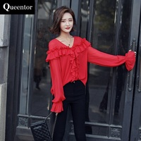 QUEENTOR 2017 Brand Blusas Loose Casual Long Sleeve Fashion Solid Ruffled V Neck Chiffon Blouse Women