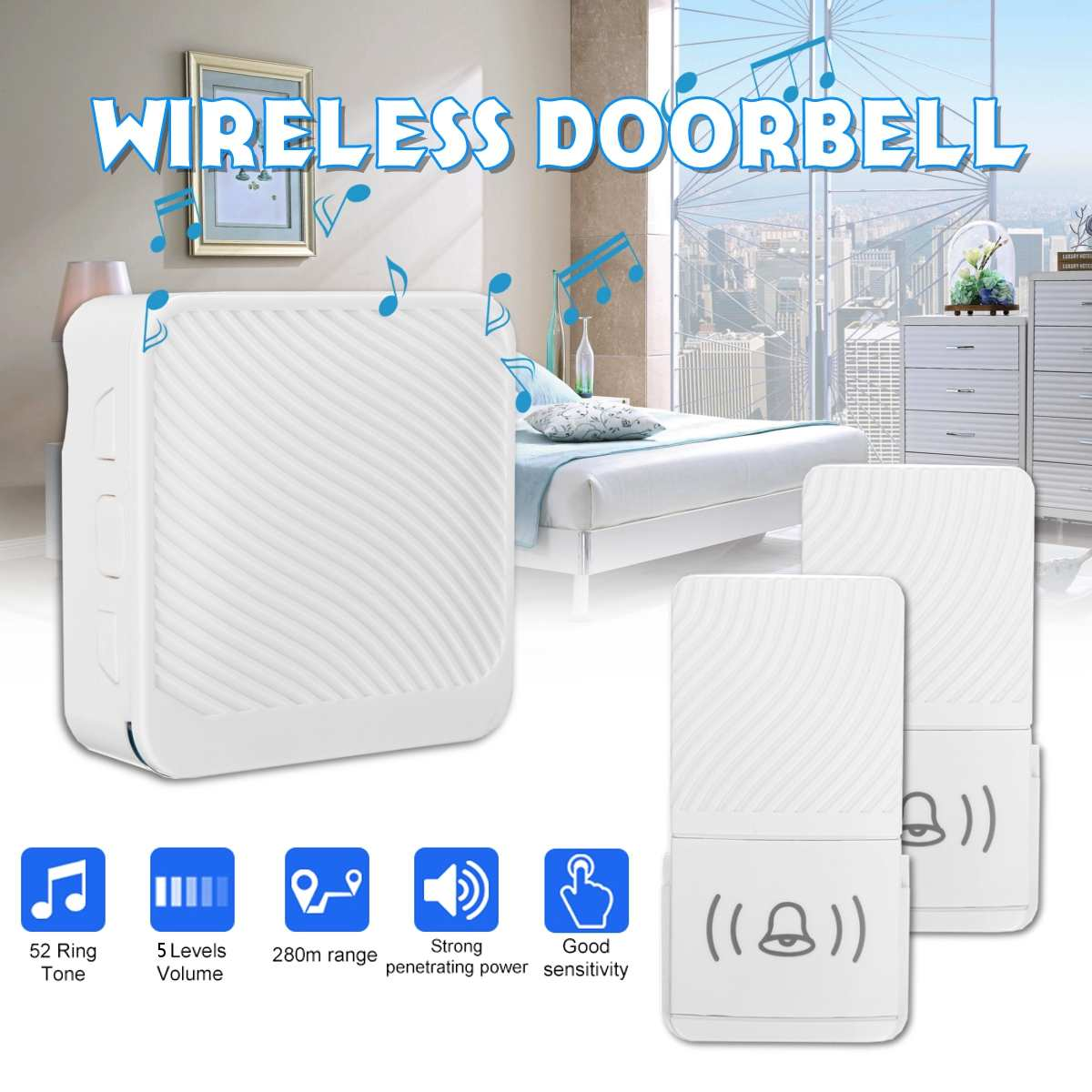 Wireless Doorbell AC 110V 50Hz 90db 280m 80x80x27mm 1 or 2 Receiver 1 or 2 Transmitter in white colorWireless Doorbell AC 110V 50Hz 90db 280m 80x80x27mm 1 or 2 Receiver 1 or 2 Transmitter in white color