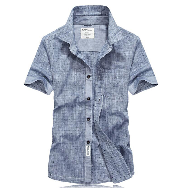 Brand New Summer Shirt Men Shirts Short Sleeves Shirts Military Casual Shirts Men Solid Pure Cotton Chemise Homme Plus Size 4XL