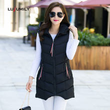 Lusumily 2019 Winter Vest Women Thick Cotton Warm Vest Black Hooded Waistcoat Long Colete Feminino Plus Size Sleeveless Outwear(China)