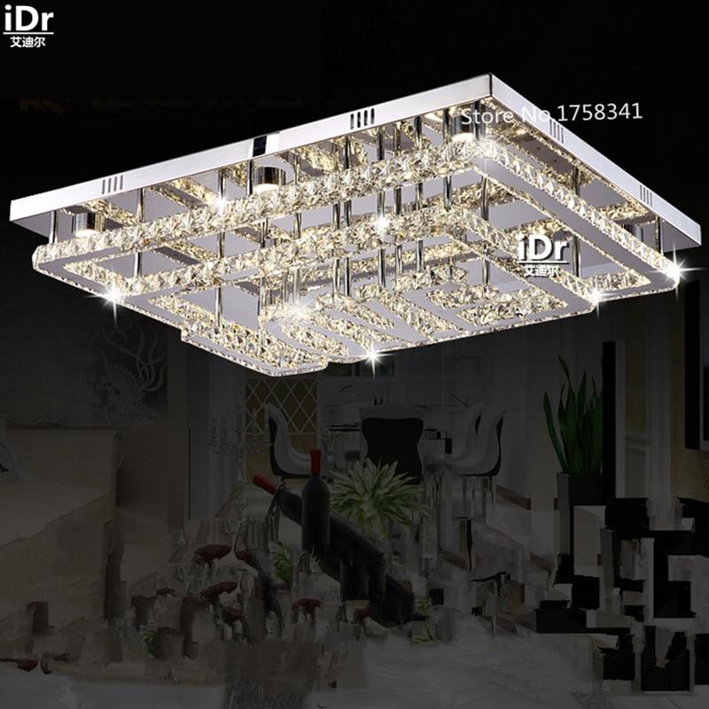 LOVE-shape modern minimalist living room LED ceiling lights with stainless steel rectangular crystal lamp High-grade light modern led crystal ceiling light for living room lamp stainless steel