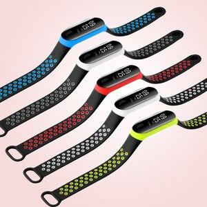 Image 5 - BOORUI correa para xiaomi mi band 3, correa de silicona transpirable de doble Color para pulsera inteligente mi band 3 y mi band 3