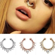 New Fashion Titanium Crystal Fake Nose Ring Septum Nose Hoop Ring Piercing Body Jewelry Drop Shipping(China)