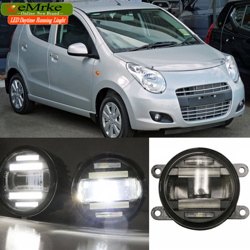 eeMrke Xenon White High Power 2in1 LED DRL Projector Fog Lamp With Lens For Suzuki Alto A-Star 2009-2014 eemrke xenon white high power 2in1 led drl projector fog lamp with lens for suzuki sx4 2008 2016