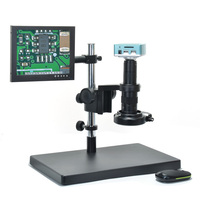 "Microscope Camera Set 1080P HDMI USB Digital Industrial camera 180X C mount Lens 8"" Monitor Big Boom Stand LED for PCB Repair"