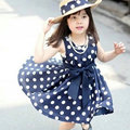 Korean Girls Bow Wave Point Dress Sleeveless Knee Length Polka Dot Sundress