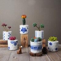 Набор из 6 китайских сине-белых фарфоровых цветочных горшков горшки для влагозапасающего растения домашние декоративные кактусы