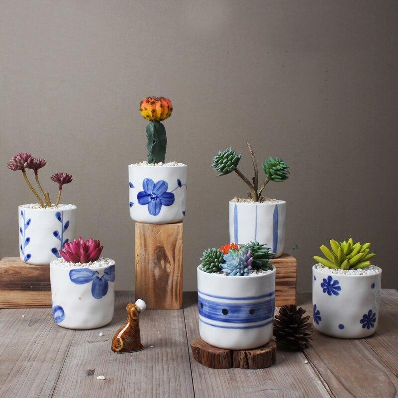 Ensemble de 6 Chinois Bleu et Blanc Porcelaine Pots de Fleurs Plante Succulente Pots Décoratifs pour La Maison Cactus Planteurs