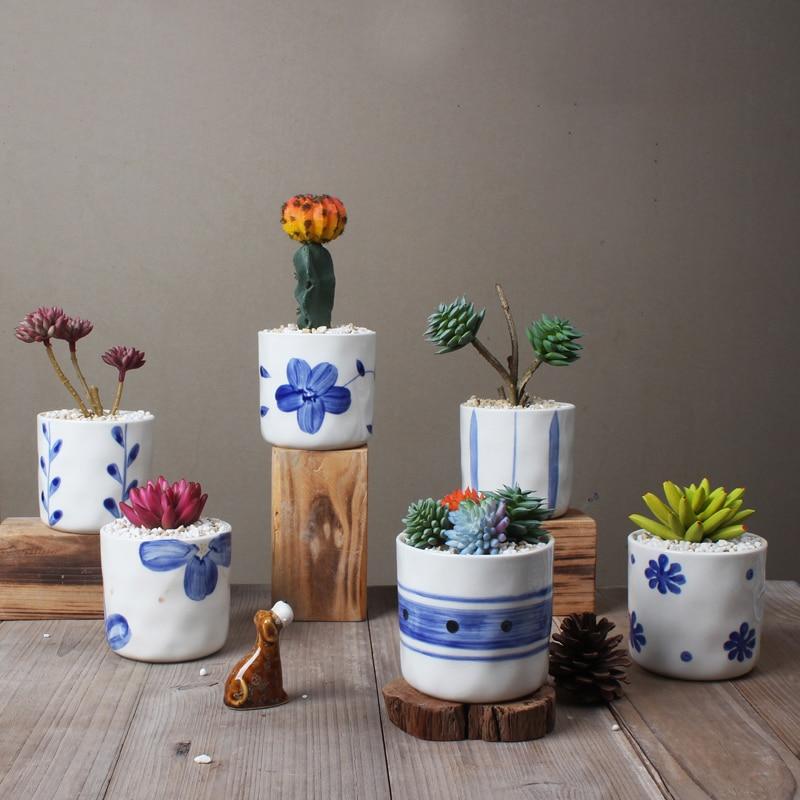 Us 34 55 15 Off Set Of 6 Chinese Blue And White Porcelain Flowerpots Succulent Plant Pots Home Decorative Cactus Planters In Flower