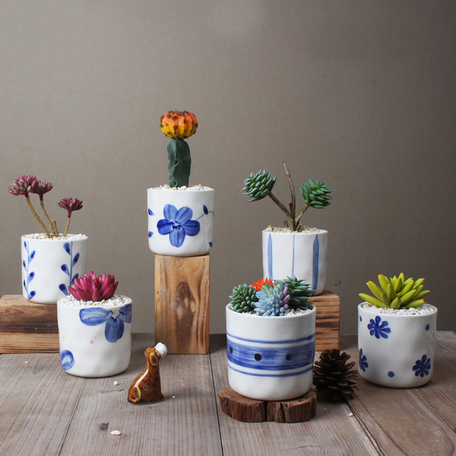 Set Of 6 Chinese Blue And White Porcelain Flowerpots Succulent Plant Pots Home Decorative Cactus Planters