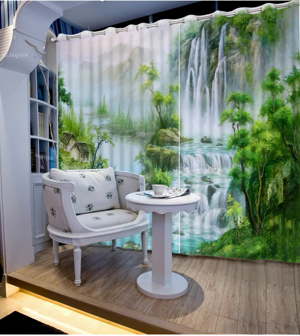 3D Curtains customize Waterfall oil painting land Living Room Bedroom jacquard blackout curtains           3D Curtains customize Waterfall oil painting land Living Room Bedroom jacquard blackout curtains