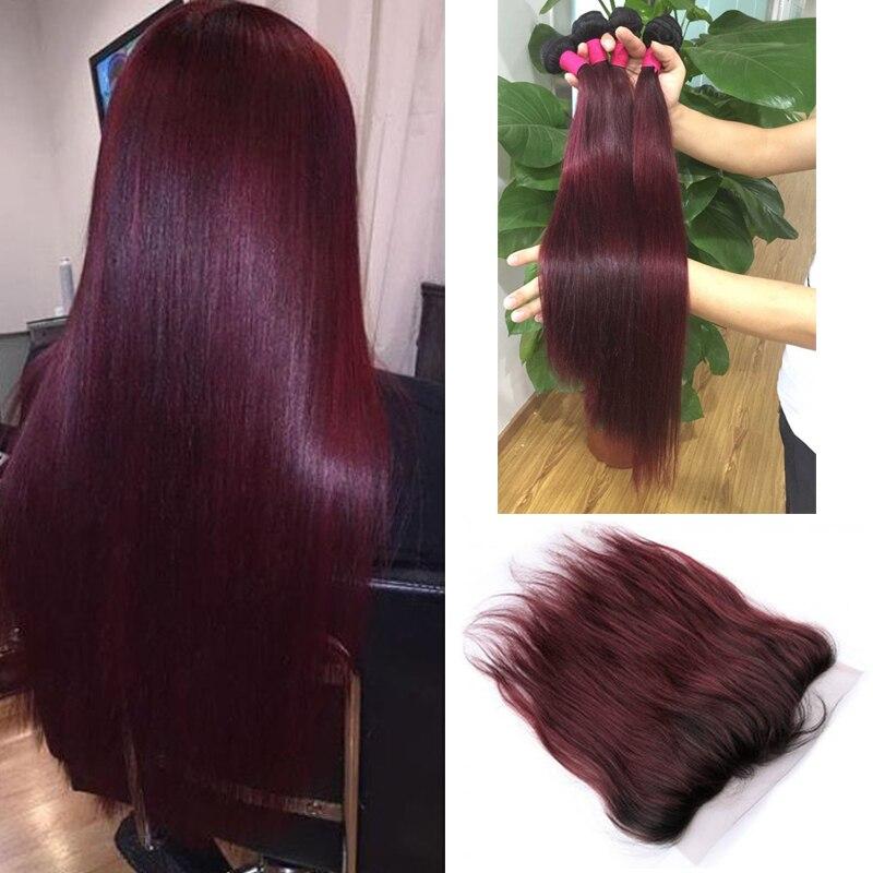 ombre frontale avec des faisceaux ombre vin rouge couleur dentelle frontale avec peruvienne droite bundles cheveux 3 pcs fonce racine ombre frontale