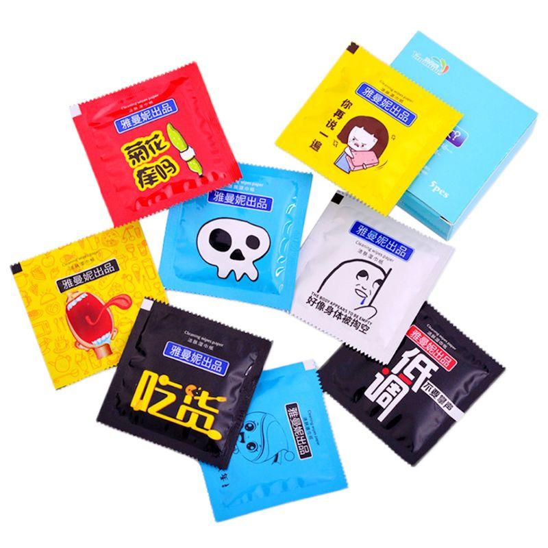 5Pcs Portable Cartoon Condom Shape Wet Wipes Tissue Individually Wrapped Aloe Essence Random Color