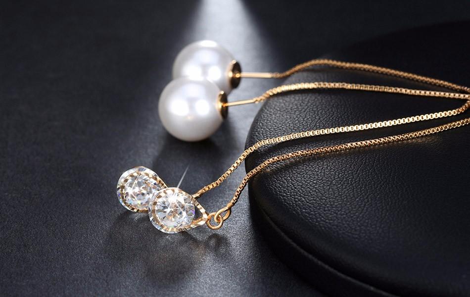 Effie Queen Fashion Cute Ear Wire Earrings Female Models Long Drop Crystal Imitation Pearl Jewelry Dangle Earrings Brincos DDE26 13
