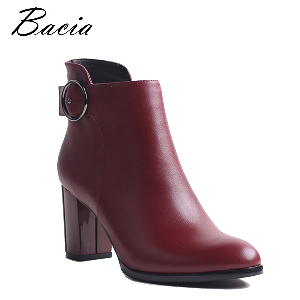 Bacia Ankle Boots Fashion Retro Red Shoes Handmade Good Quality Boots Genuine Leather Women Boots With Short Plush 2018 VXA029 bacia genuine leather boots short plush women shoes black simple style ankle boots with zipper handmade high quality shoes vd021