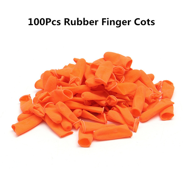 100Pcs Disposable Latex Finger Cots Anti-static Rubber Fingertips Non-slip  Protective Finger Cots for Electronic Repair Painting