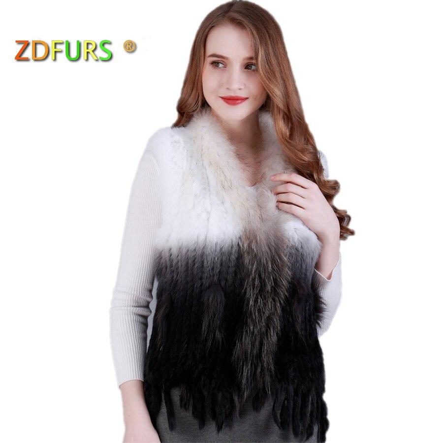 ZDFURS * természetes valódi nyúl szőrme mellény szőrme nyakörv - Női ruházat