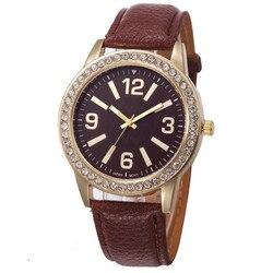Timezone#301 Fashion Women's Geneva Watches Stainless Steel Analog Leather Quartz Wrist Watch Free Shipping
