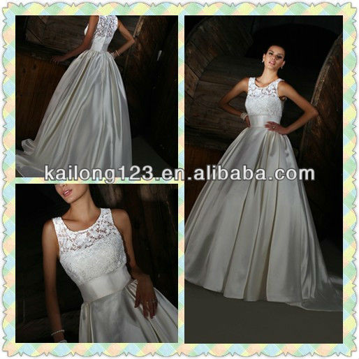 Attractive Scoop Neckline Sleeveless Court Train Lace Bodice Wide Waistband  Satin Ball Gown Wedding Dresses f9382498bae1