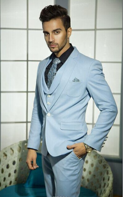 New Design One Button Light Blue Groom Tuxedos Groomsmen Men's Wedding Prom Suits Bridegroom (Jacket+Pants+Vest+Tie) K:875