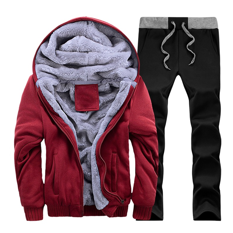 Tracksuit Men Winter Thick Inner Fleece Sets Mens Hat Casual Active Suit Men Zipper Man Outwear 2pc Jacket+pants #3
